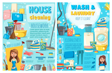 House cleaning and laundry service, maid or housewife. Vector electric appliances, washing and sewing machines, iron and vacuum cleaner with dryer. Brush and sponge, gloves and dishware, detergents