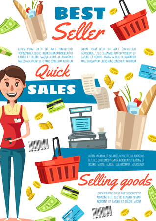 Seller in supermarket or shop, vendor of grocery store. Saleswoman in uniform with scanner and paper bag of food. Vector basket and cash counter, credit card and barcode, receipt and money bills