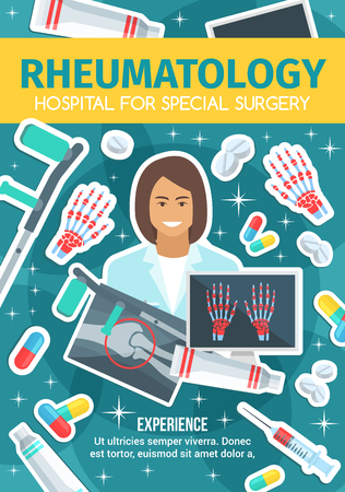 Rheumatology doctor and treatment, X-ray and pills. Crutch and painkillers, syringe and skeletal bones in pain with ointment. Vector rheumatologist, human knee joint and palm, hospital medical service