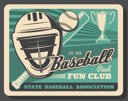Baseball sport, bat and ball, helmet with mask or protection. Vector trophy cup, tournament and championship, sporting items. Game or match, competition and fan club, player equipment and headgear