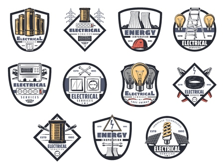 Energy and power plants, energetics icons. Vector electricity industry plants, light bulb and wire, socket and switch. Eco or electric car and copper cable, solar battery and tension sign Illustration