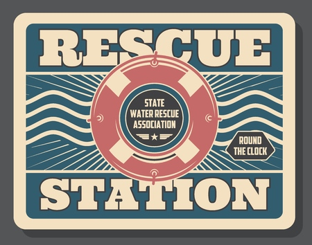 Rescue station, safety on water, inflatable lifebuoy. Vector nautical symbol, striped rubber ring, assistance or aid, baywatch service. Protection from drowning, swimming in sea or ocean and pool Illustration