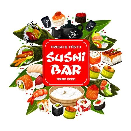 Sushi bar menu, Japanese cuisine food. Vector roll and sashimi, ikura and kappa or maki, shrimp or perch nigiri and caviar in seaweed, temaki and tobikko. Tea ceremony, teapot and cups Illustration