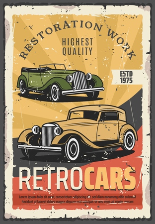 Retro cars show or vehicle exhibition. Vector vintage transport museum, restoration works, old cabriolet. Auto repair service, mechanic system and garage station, automobile parts replacement Çizim