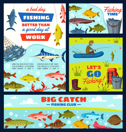 Fishing sport tours, fisherman and tackles, river and sea fish. Vector boat and rod, backpack and gumboots, net and bucket. Crucian and herring, bass and marlin, crab and catfish, sturgeon