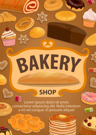 Bakery shop, pastry and confectionery icons. Bread and cake, baguette and pancake, bun and pretzel. Vector donut and gingerbread cookie, bagel roll with jam, croissant, marmalade, biscuit and sweets