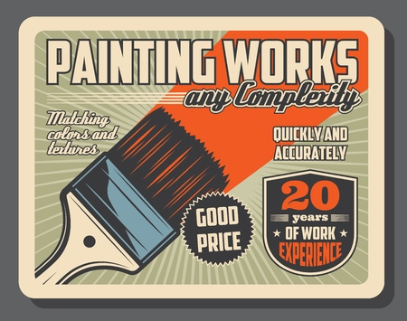 Painting works and home repairs, renovation of interior design. Vector retro brush and paint, matching colors and textures. Redecoration tools, equipment or material, building store, painting service Illustration
