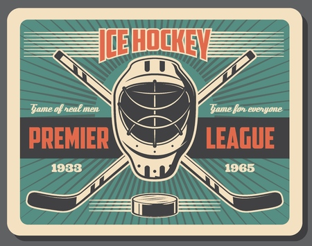 Ice hockey sport, tournament or championship on rink. Vector retro goalkeepers mask and sticks with puck, protection and sporting items. Helmet or headgear and rink, premier league match, game hobby Illustration