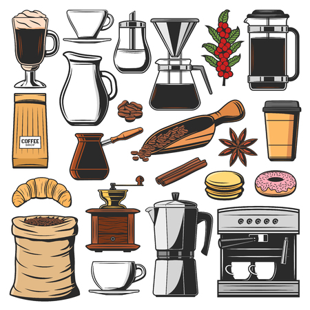 Coffee brewing icons, snacks and pastry food. Vector beans and cup, croissant and donut, macaroon, anise and cinnamon. Energetic drink in glass or takeaway cup, machine, turk and pot, sugar and milk  イラスト・ベクター素材