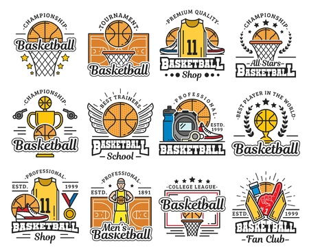 Basketball sport icons with ball and basket. Vector trophy cup and play field or court, uniform and sneakers, medal and whistle. Sporting school or sportswear shop, tournament and championship