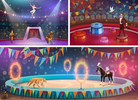 Circus arena, chapiteau show and handler with gymnast, magician and animals. Vector woman in hoop and man with whip, bear on bicycle and flame circles. Tiger and horse, juggling monkey and dove Illusztráció