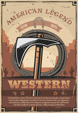 Wild West, western style, tomahawk and rope, native Americans or Injuns tools. Vector working item or weapon, hatchet and lasso. Mining or hunting, horseshoe and cactus silhouettes in desert Zdjęcie Seryjne - 118523460