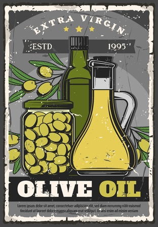 Olive oil in bottle, jug or preserved. Vector cooking liquid seasoning made of natural organic product sealed in container. Healthy nutrition and salad dressing, conserved food in sealed jar