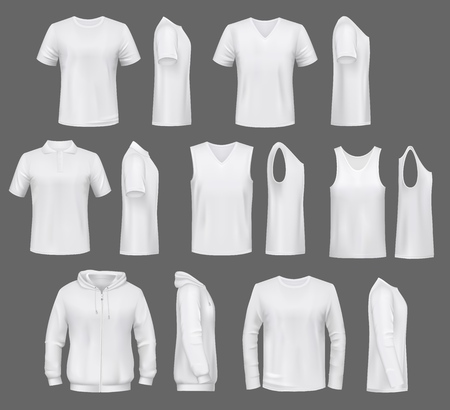 Male fashion, t-shirt templates with hoodie and sweatshirt, polo and singlet or sleeveless shirt. Vector basic clothes white mockups, casual garments. Men outfit henleys and tank top items, underwear Vettoriali