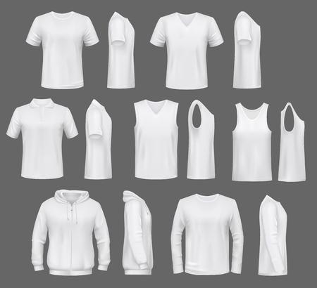 Moda maschile, modelli di t-shirt con cappuccio e felpa, polo e canottiera o maglietta senza maniche. Mockup di vestiti di base vettoriali bianchi, indumenti casual. Completi uomo serafino e capi canotta, intimo