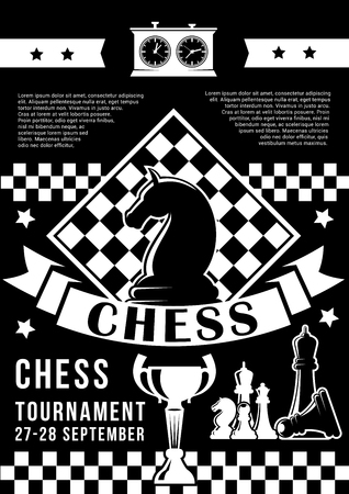 Chess tournament or championship, game pieces and timer. Vector monochrome knight and chessboard with trophy cup, king and queen, bishop and pawn, rook or castle. Award or reward, intellectual contest Illustration
