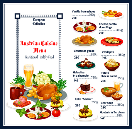 Austrian cuisine menu, food vector. Vanilla horseshoes and cheese potato dumplings, Christmas goose and vasilopita, galushka and salad. Cake sacher and beer soup, goulash in Tyrolean