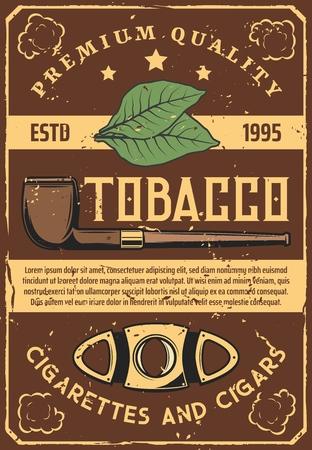 Hojas de tabaco y fumar pipa vintage, tijeras para puros cubanos, herramienta. Vector de cigarrillos y hábitos nocivos, nubes de humo, artículos y accesorios para fumadores. Planta orgánica seca, relajación e inhalación.