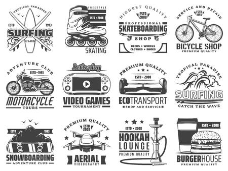 Actividades de pasatiempo, recreación y deporte iconos vectoriales. Surf y patinaje, skate y bicicleta, moto y videojuegos. Transporte ecológico y snowboard, videografía aérea y narguile, comida rápida