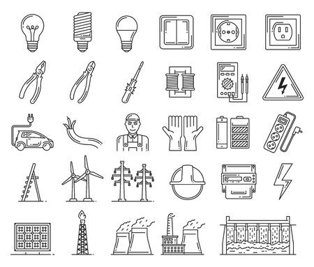 Électricité et centrales électriques, outils de réparation de câblage électrique. Ampoule et interrupteur, douille et pince. Tournevis et voltmètre vectoriels, electrocar et fil, électricien et batterie