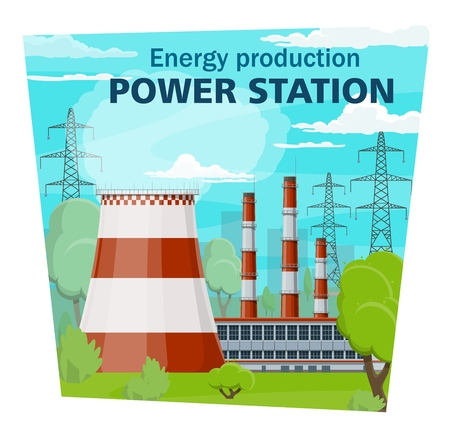 Power stations and electricity industry, electrical energy production and nuclear plant. Vector electric factory, pipes and chimneys, smoke or vapor. Transmission towers and industrial building