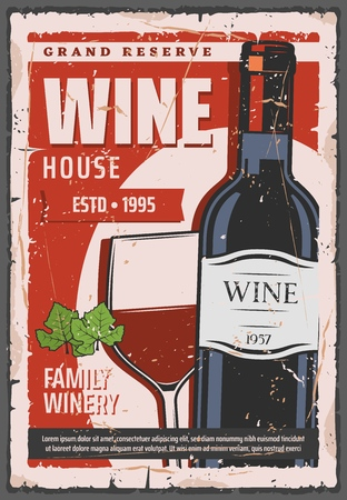 Red wine bottle, winehouse and retro winery industry. Vector winemaking and cellar, alcohol drink of grape juice. Exquisite aged beverage in glass and sealed container with cork, grand reserve