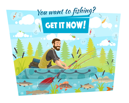 Fishing sport, fisherman in boat with rod and oar. Vector tackle and fishery equipment, backpack and hook with bait. River fish, carp and trout, perch and crucian, outdoor activity on nature