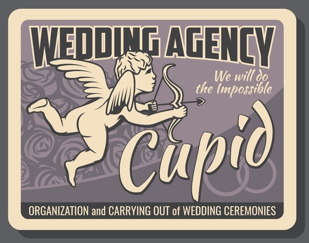 Wedding agency, cupid with bow and wings, event arrangement and holiday organization. Vector rose bouquet and bridal rings, carrying out of ceremonies. Marriage and love celebration, religious rite
