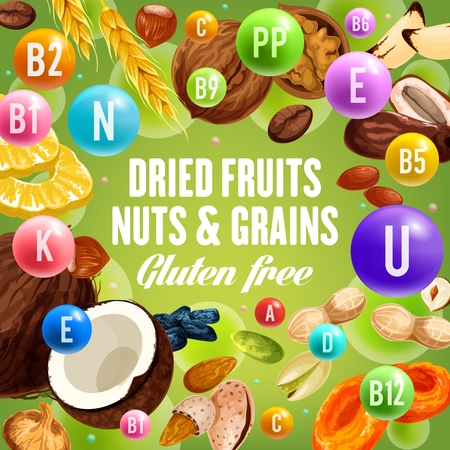 Nuts and grains, dried fruits and gluten free food. Vector vitamin complex and dietary nutrition or healthy food. Wheat and coconut, almond and hazelnut, walnut and fig, raisin and peanut, pistachio