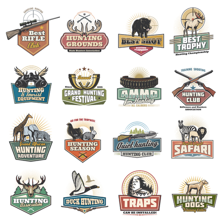 Hunting sport icons, safari equipment items, animals and birds. Gun or rifle, binoculars and bullets, crossbow and trap. Vector boar and elk, giraffe and elephant, hippo and blackcock Illusztráció
