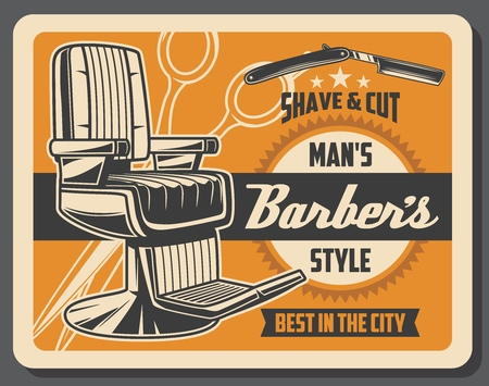 Barbershop service and hairdressing salon. Vector retro gentlemens hipster style, shave and haircut, armchair and dangerous razor with blade, scissors. Male beauty, moustache and beard styling Illustration