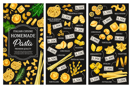 Italian pasta menu, cuisine dishes. Vector tagliatelle and farfalle, gnocchi and risoni, eliche and conchiglie, rigatoni and linguini. Alluovo and tortelloni, rotelle and maccheroni, ravioli