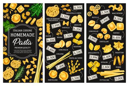 Italian pasta menu, cuisine dishes. Vector tagliatelle and farfalle, gnocchi and risoni, eliche and conchiglie, rigatoni and linguini. Alluovo and tortelloni, rotelle and maccheroni, ravioli