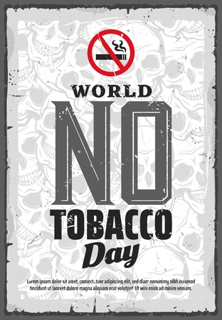World no tobacco day, smoking prohibition and healthcare movement. Vector international event, refusal from harmful habit, human skulls and crossed out cigarette sign. Nicotine harm and cigar smoke Illustration
