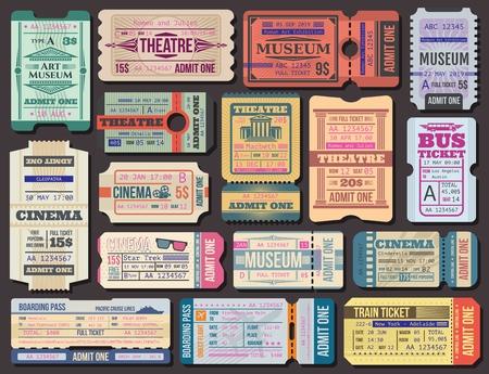 Bilety do kina, muzeum i teatru oraz wektor karty pokładowej. Pokaz filmowy seans 3d, występ sceniczny i wstęp na wystawę. Transport samolotem i statkiem, autobusem i pociągiem, podróżowanie