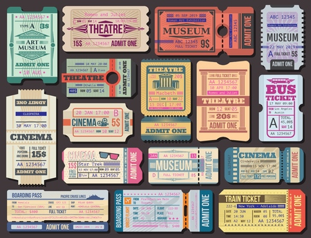 Cinema, museum and theatre tickets and boarding pass vector. Film show 3d seance, stage performance and exhibition paper admission. Transportation by plane and ship, bus and train, traveling Stock Illustratie