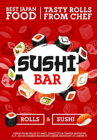 Sushi bar or restaurant, rolls in seaweed. Vector seafood with rice in raw condition, salmon and tuna, perch and cucumber, eel and avocado and tofu cheese. Japanese cuisine food from chef cafe