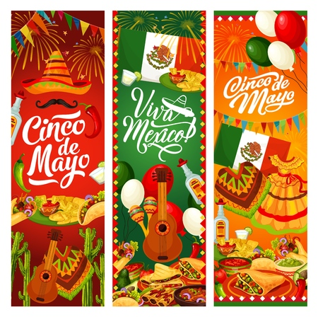 Cinco de Mayo Mexican traditional holiday decorations, food and drinks. Vector Cinco de Mayo party celebration balloons and flags, Viva Mexico greeting, sombrero and poncho, pinata and tequila Çizim
