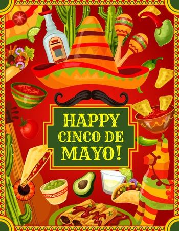 Happy Cinco de Mayo Mexican holiday celebration symbols, food and drinks. Vector Cinco de Mayo party fiesta guitar, maracas and sombrero with mustaches, pinata and tequila in Mexican flag frame