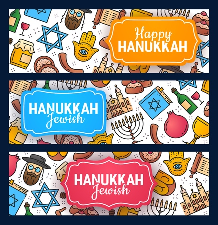 Happy Hanukkah calligraphy greetings and Israel Jewish holiday symbols pattern. Vector Chanukah or Hannukah menorah candle, dreidel and Torah scroll, Jewish David star and synagogue rabbi