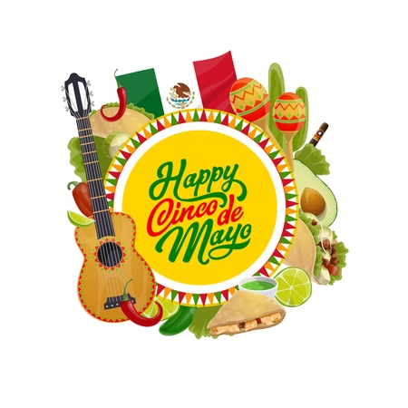 Happy Cinco de Mayo vector design with Mexican holiday guitar, maracas and chilli tacos, flag of Mexico, cactus and avocado, lime, jalapeno pepper and cigar. Latin American fiesta party greeting card