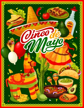 Cinco de Mayo Mexican holiday vector greeting card with fiesta party food and drink. Sombrero, cactus and maracas, tequila, chilli tacos and nachos, avocado guacamole, lime, pinata and balloons