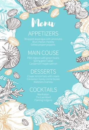 Wedding party celebration menu with sketch marine seashells pattern frame. Save the Date marriage or engagement dinner menu of appetizers, main course and desserts with cocktails