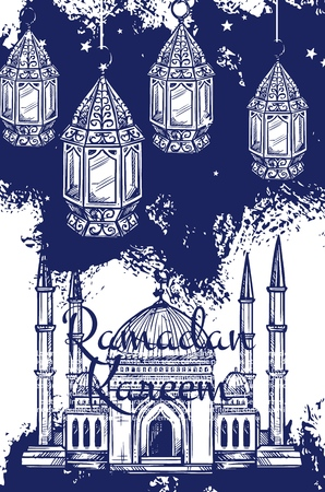 Ramadan Kareem festive lantern and islam religion mosque sketches. Muslim masjid, crescent and arabian lamps, islamic calendar fasting month Ramazan vector design Ilustração
