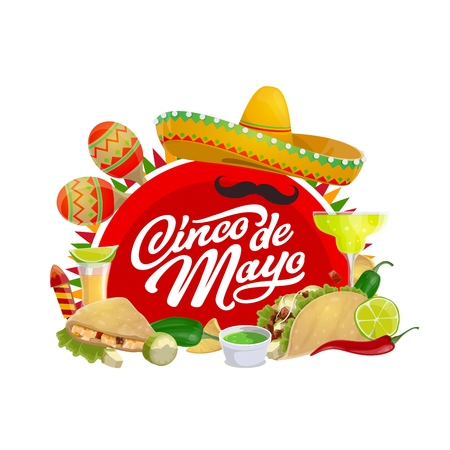 Cinco de Mayo holiday sombrero, maracas, moustaches and Mexican fiesta party food vector greeting card. Latin American festival mariachi hat, tequila margarita and chilli tacos, nachos, avocado, lime