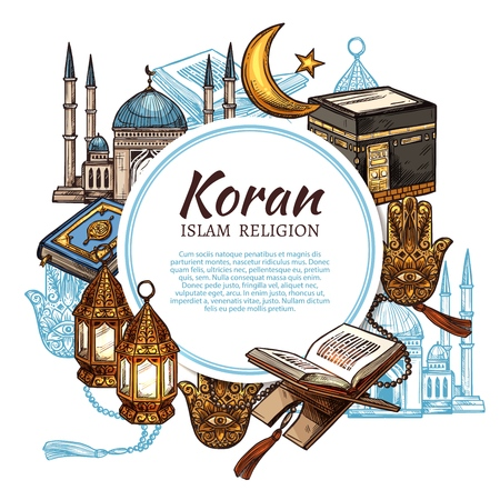 Islamic religious symbols and ritual objects, Koran holy book. Vector Muslim mosque mullah, Islamic star and crescent, lantern and Hamsa hand. Mosque and golden lanterns, religion rite attributes Stockfoto - 118668601