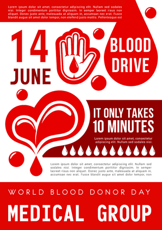 World Blood Donor Day of 14 June poster. Blood donation banner with blood drop, heart and helping hand for transfusion clinic or medical charity volunteer center promotion design