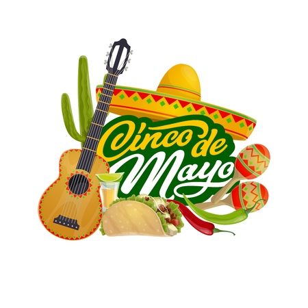 Cinco de Mayo Mexican fiesta calligraphy greeting, Mexico traditional holiday celebration. Vector Cinco de Mayo party guitar and maracas with sombrero tequila, lime and jalapeno chili pepper in tacos
