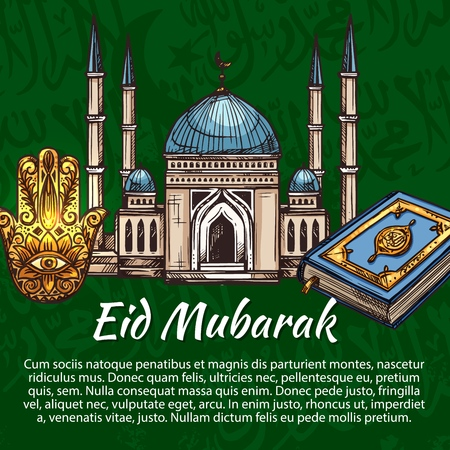 Eid Mubarak Muslim holidays poster. Vector Islamic religious symbols, mosque minarets with crescent moon, Eid Mubarak Arabic ornament calligraphy pattern, Quran and Hamsa hand amulet sketch