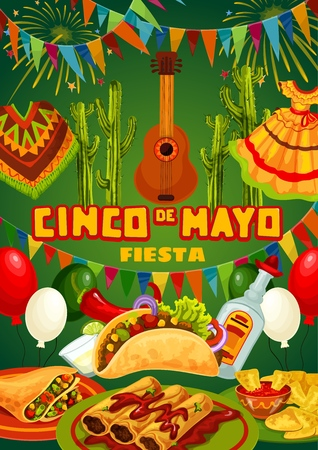 Cinco de Mayo fiesta party food, drink and Mexican holiday guitar vector invitation. Cactus tequila, margarita and chilli, lime, tacos and nachos, avocado guacamole and tomato sauce, balloons, bunting Illustration